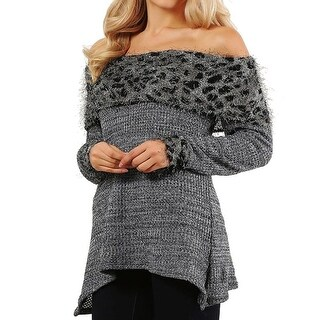 Funfash Plus Size Women Gray Leopard Long Sleeves Sweater Blouse Top