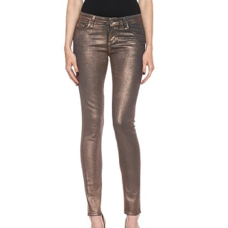 Paige NEW Women's Rose Gold 28X30 Coated Verdugo Slim Skinny Jeans