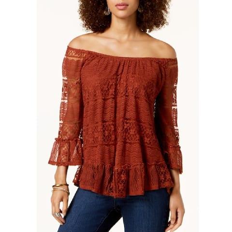 Style & Co Women's Off-The-Shoulder Lace Top Rich Auburn Size Extra Large - Orange - X-Large
