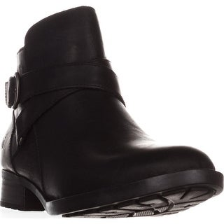 Born Chaval Flat Casual Ankle Boots, Black Leather