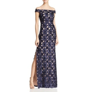 Aidan Mattox Womens Evening Dress Embellished Off-The-Shoulder - Twilight