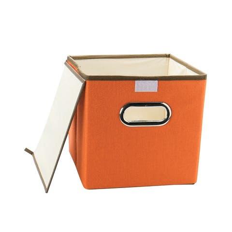 "Storage Bin Linen Fabric Foldable Cube Organizer Box w Lid and Metal Handles - 9.8"" x 9.8"" x 9.8''"