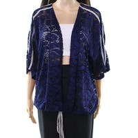 H.I.P. Blue Women's Size 1X Plus Floral Lace Tie Cardigan Sweater