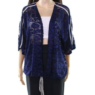 H.I.P. Blue Women's Size 1X Plus Floral Lace Tie Cardigan Sweater