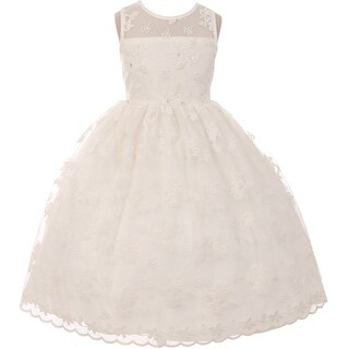 Flower Girl Dress Lace Throughout Pearls Decorate Ivory TR 1037