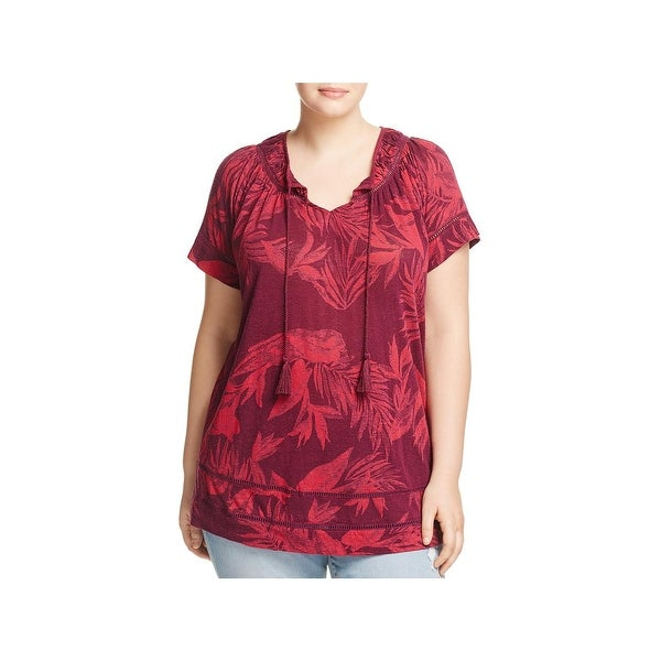 8aafa2d37affda Shop Lucky Brand Womens Plus Peasant Top Linen Tropical Leaves ...