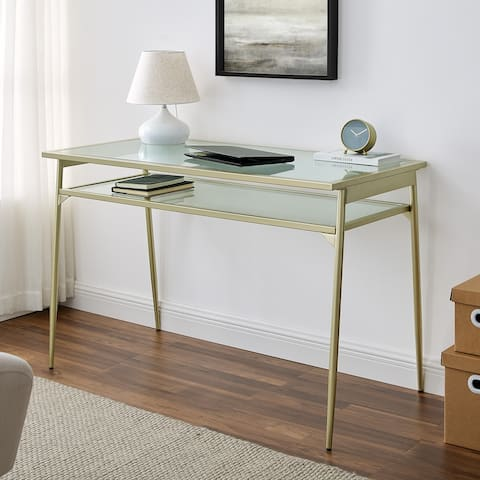 Silver Orchid 48-inch Metal and Glass Two-Tier Desk