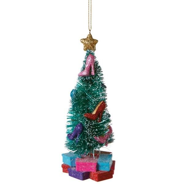 "Fashion Avenue Flocked Glittered High Heel Pump Christmas Tree Ornament 5.5"" - multi"