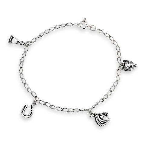 Good Luck Multi Horseshoe Horses Charm Bracelet For Women Graduation Gift Cubic Zirconia Pave CZ 925 Sterling Silver