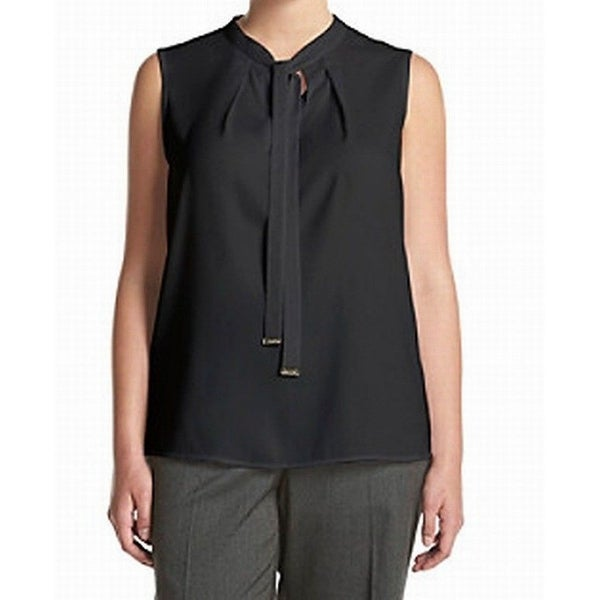 558fc487b13cfe Shop Calvin Klein NEW Black Tie-Neck Women's Size 2X Plus Chiffon Blouse - Free  Shipping On Orders Over $45 - Overstock - 20248836