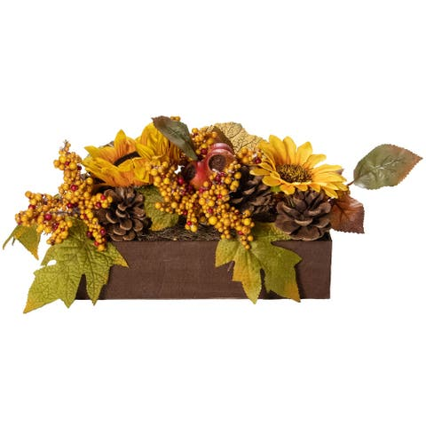 """10"""" Yellow and Brown Sunflowers and Leaves Fall Harvest Floral Arrangement"""