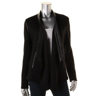 Generation Love Womens Faux Leather Trim Textured Jacket