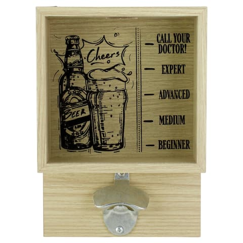 """10.25"""" Wood and Glass 'Cheers' Bottle Opener with Storage Box"""