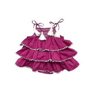 Sophie Catalou Baby Girls Purple Smocked Top Tassel Ruffle Tiered Romper