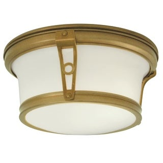 "Norwell Lighting 5383 Leah 2 Light 13"" Wide Flush Mount Ceiling Fixture with White Glass Shade"