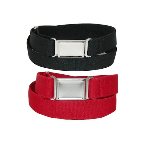 CTM® Plus Size Elastic Belt with Magnetic No Show Flat Buckle (Pack of 2 Colors) - one size