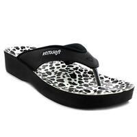 Black Leopard Women Sandals - Size 10