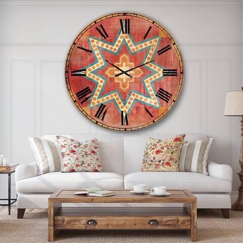 Designart 'Moroccan Orange Tiles Collage I' Bohemian Chic Large Wall CLock