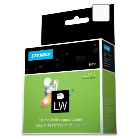 Dymo 30332 1in x 1in labels, 750 labels/roll, 1 roll/box - White