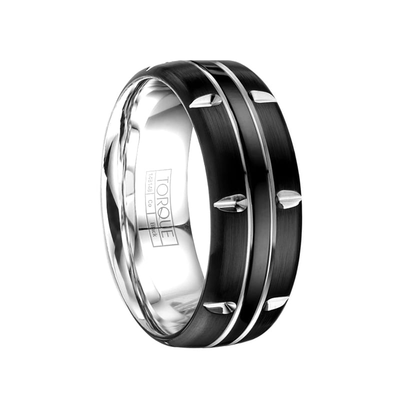 Jewelry Pilot 7mm Brushed and Polished Beveled Edge Grooved Cobalt Wedding Band