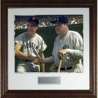 Babe Ruth unsigned New York Yankees Vintage 16X20 Photo Custom Leather Framed Photo w Ted Williams
