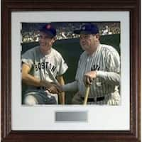 Ted Williams unsigned Boston Red Sox Vintage 16X20 Photo Custom Leather Framed Photo w Babe Ruth
