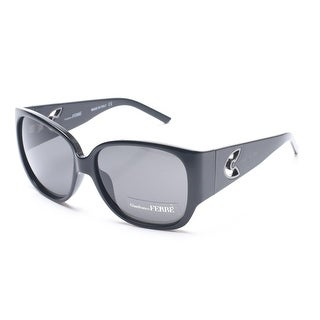 Gianfranco Ferre Women's Rounded Square Sunglasses Black/Silver - Clear - Small