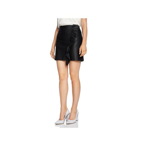 1.State Womens Mini Skirt Faux Leather Ruffled - 0