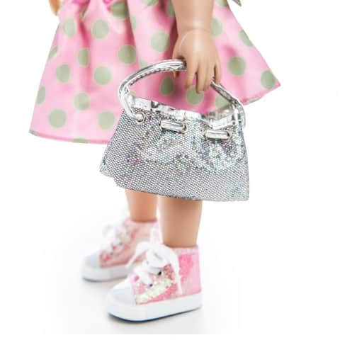 Silver Glitter Designer Shoulder Handbag Purse Fits 18 Inch American Girl Doll Clothes Accessories
