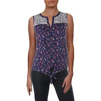 Lucky Brand Womens Button-Down Top Printed Sleeveless - S