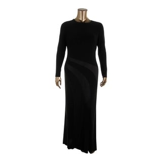Lauren Ralph Lauren Womens Evening Dress Satin Trim Long Sleeve