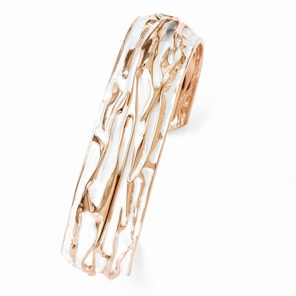 Sterling Silver Rose Gold-plated Small Domed Scrunch Bangle