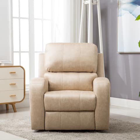 Cream Suede Leather Power Recliner Chair with USB Charge Port