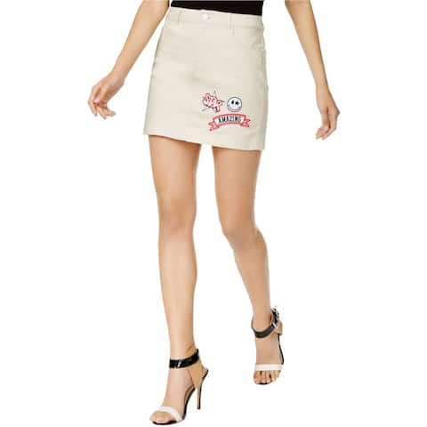 GUESS Womens Patched Denim Skirt, beige, X-Small
