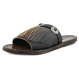 Matisse Dorado Women Open Toe Leather Black Slides Sandal