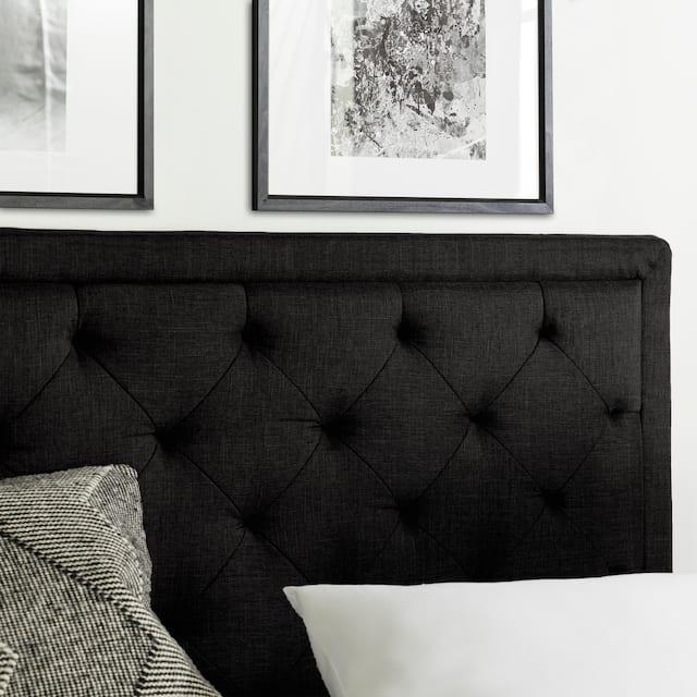 BROOKSIDE Upholstered Headboard with Diamond Tufting - Black - Twin