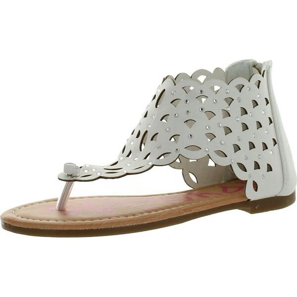 Yokids Karylle-82 Perforated Closed Flat Thong Girls Sandals With Rhinestones - White