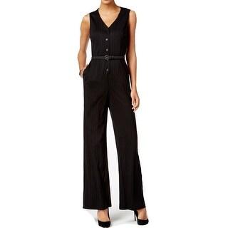 Nine West Black Womens Size 10 Pinstriped V-Neck Belted Jumpsuit