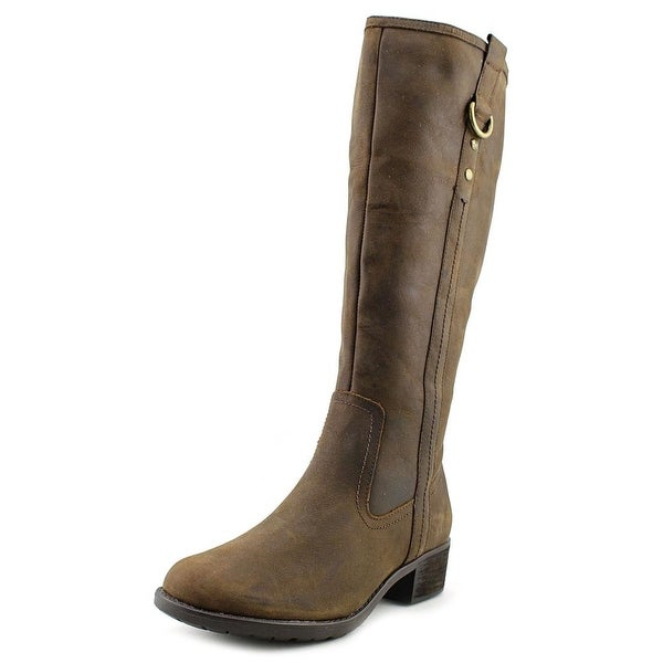 Hush Puppies Emel Overton Women Round Toe Leather Brown Knee High Boot