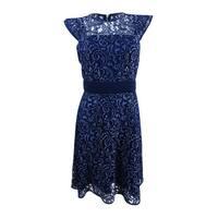 Rachel Rachel Roy Women's Lace Fit & Flare Dress (4, Indigo) - Indigo - 4