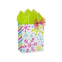 """Pack of 250, Cub Snowflake Jubilee Paper Bags 8 x 4.75 x 10.25"""" For Christmas Packaging, 100% Recyclable,"""