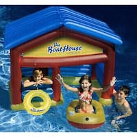 Water Sports Inflatable Swimming Pool Boat House Habitat with Raft and Buoy Ring - Multi