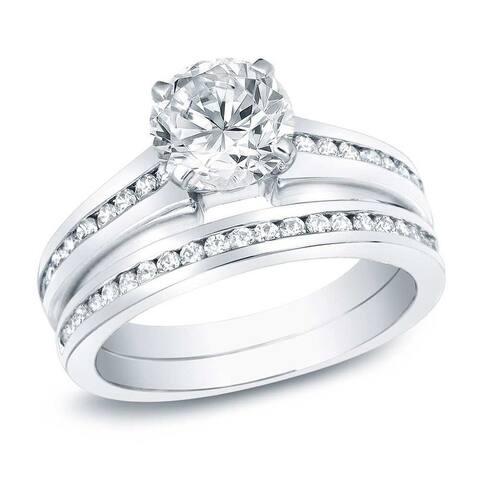 Auriya 14k Gold 1 1/2ctw Classic Diamond Engagement Ring Set Certified