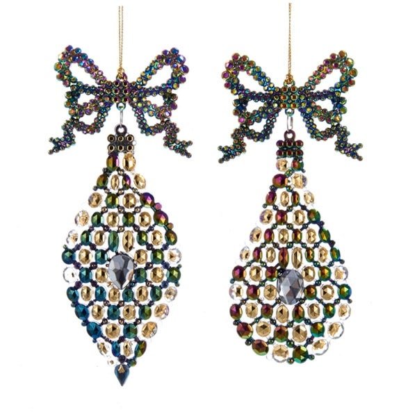 """7"""" Regal Peacock Purple, Blue, Gold and Green Gem Finial Bow Christmas Ornament - BLue"""