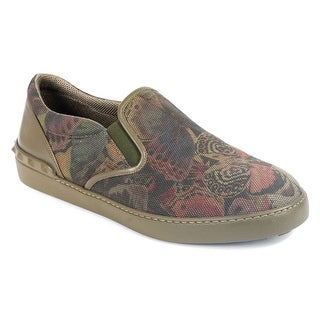Valentino Mens Green Canvas Forest Print Slip-On Sneakers