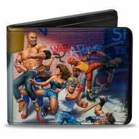 Sega Genesis 16 Bit Box Cover Street Fight + Streets Of Rage Logo Bi Fold Bi-Fold Wallet - One Size Fits most