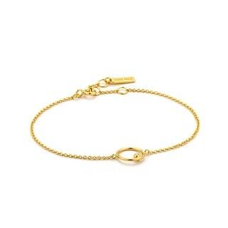 "Orbit Chain Circle Bracelet - Shiny Gold - 7.3"""