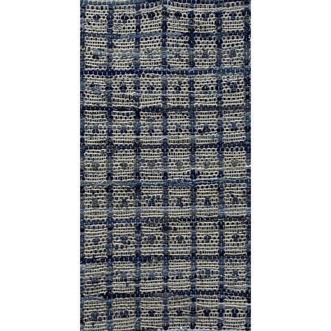 Hand-Woven Dot and Grid Denim Rug
