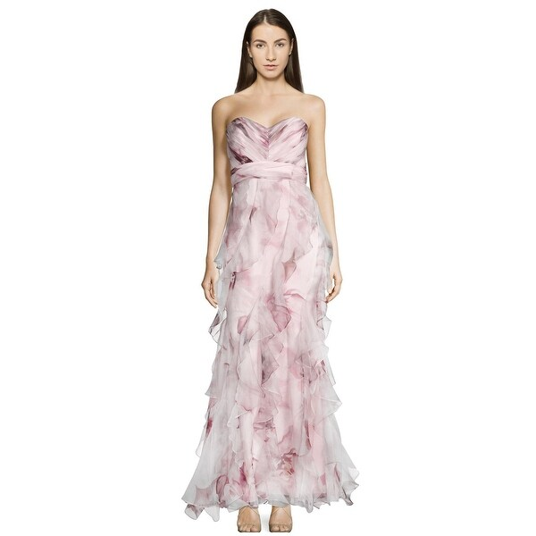 Badgley Mischka Strapless Ruffled Silk Gown Blush Multi Sweetheart neckline uie 50971