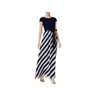 SLNY Womens Maxi Dress Chiffon Cap Sleeves